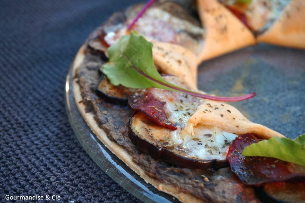 Tarte soleil aubergine, chorizo et fromage basque