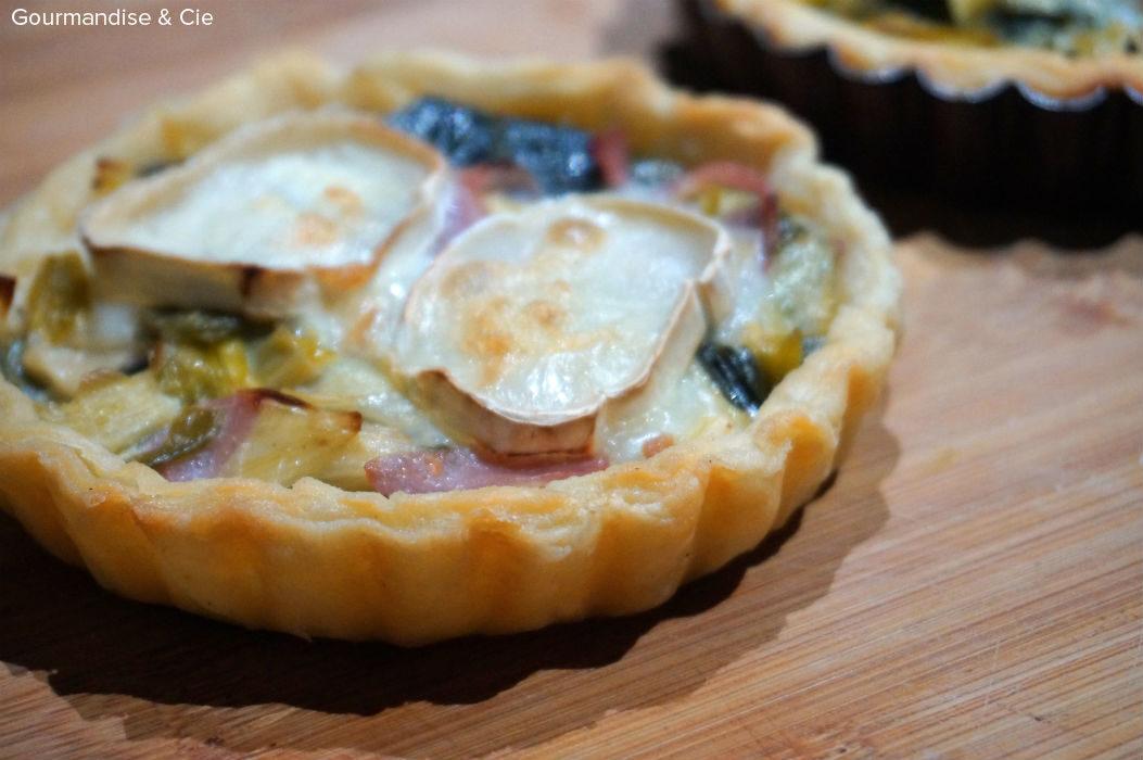 Tartelettes au poireau, bacon et chèvre